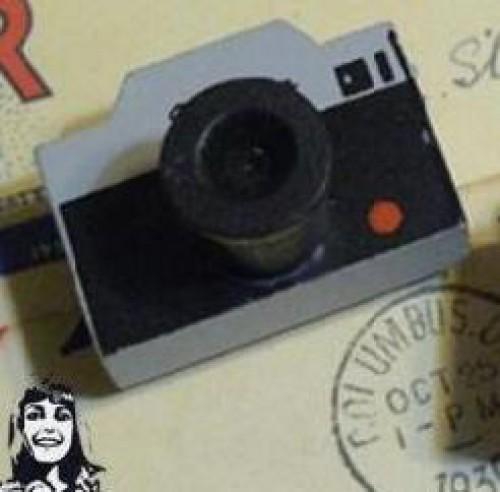 vintage Holzstempel Kamera grau