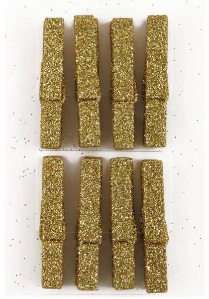 Wäscheklammern 8 Stk gold Glitzer