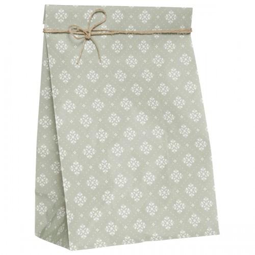 5 Stk. Papierbeutel grün Blumen Karo, gross