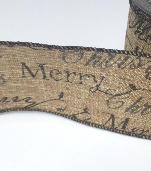 Dekoband braun Merry Christmas 63mm