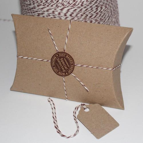 6 Kissenschachteln mini & Pappanhänger Kraft braun