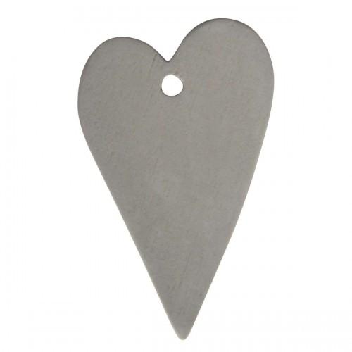 4 Stk Geschenkanhänger Herz grau
