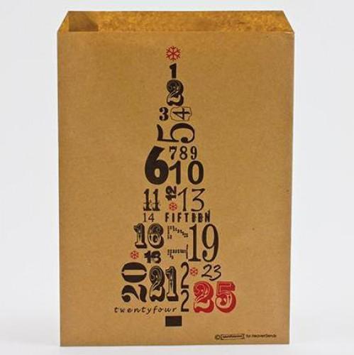 10 Papiertüten Kraft brit. Weihnachten Zahlenbaum