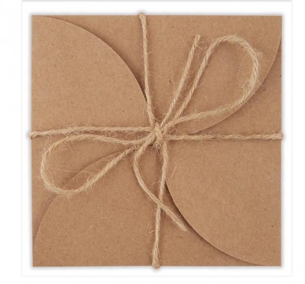 3 x Set mini Karte / Umschlag Rosette Kraftpapier