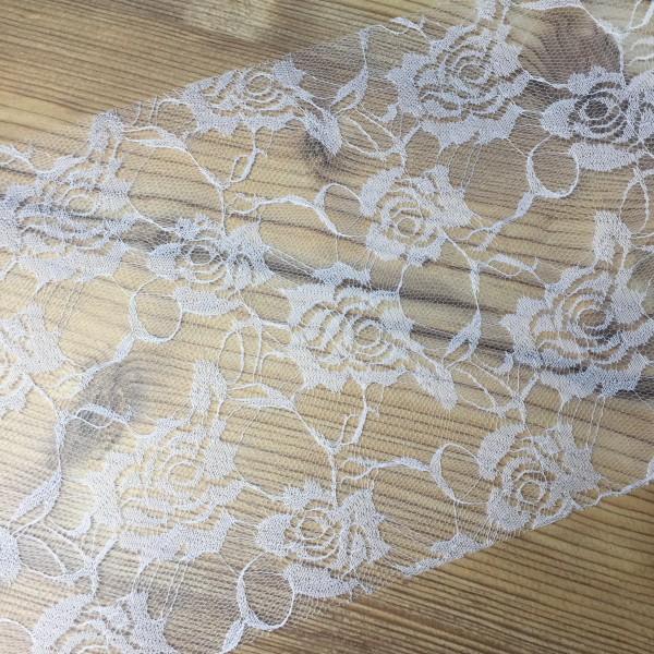 weisse Spitze 20cm breit Tischband Rose