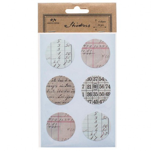 24 Sticker vintage Notes rund 4cm