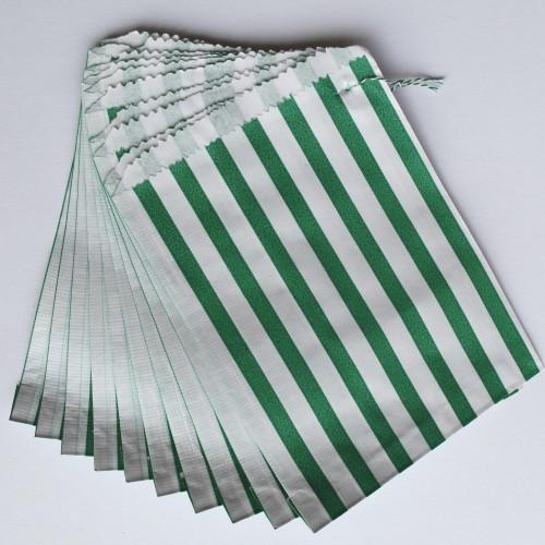 Papiertüten grün weiß gestreift, klein 10 Stk