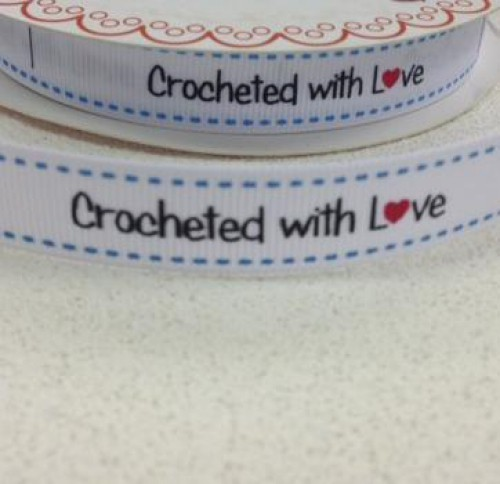 "Etiketten ""crocheted with love"" Rolle 3 Meter Label weiss"