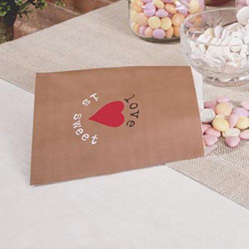"""25 Papiertüten braun """"Love is sweet"""""""