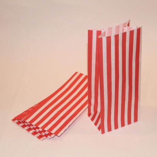 rot weiss gestreifte Papierbeutel mit Boden 10 Stk