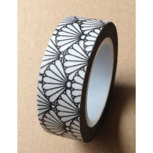 Masking Washi Tape - floral1 - schwarz weiss gemustert