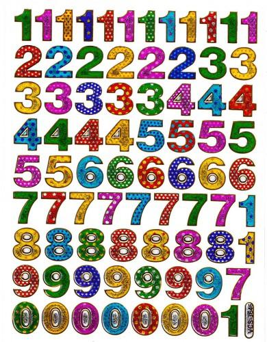 Sticker Zahlen Aufkleber glitzernd gemustert