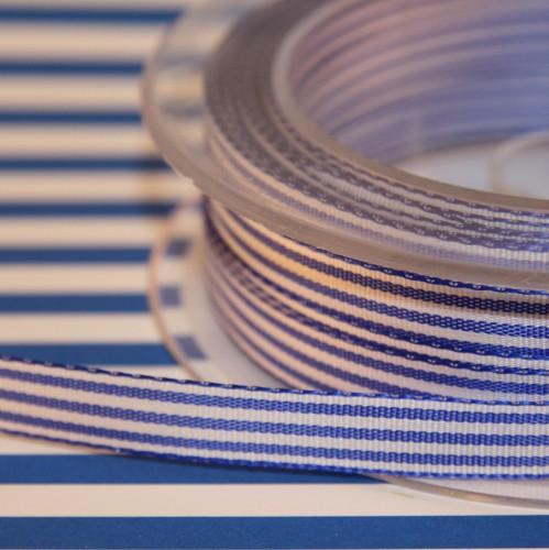 Schleifenband blau / weiß gestreift