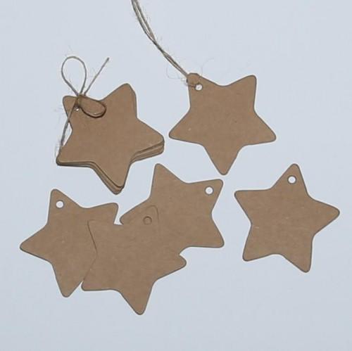 10 Paketanhänger Kraft Stern Star