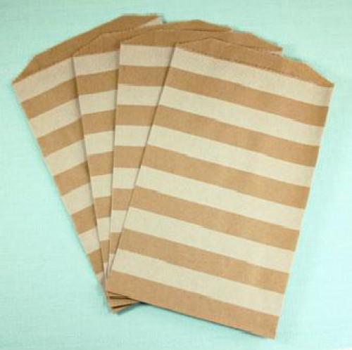 4 Stk. Kraft Papierbeutel gestreift