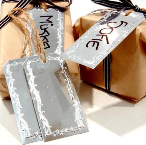 4 Stk. Dekohänger Paketanhänger silber Metall