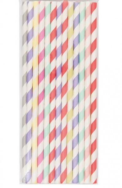 24 Strohhalme Papier Sorbetfarben Mix gestreift
