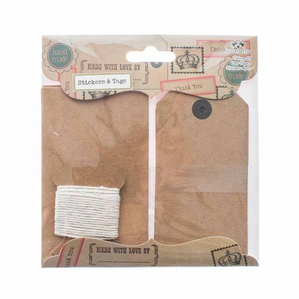 Set 10 Paketanhänger Nostalgie Kraft inkl. Kordel, Sticker