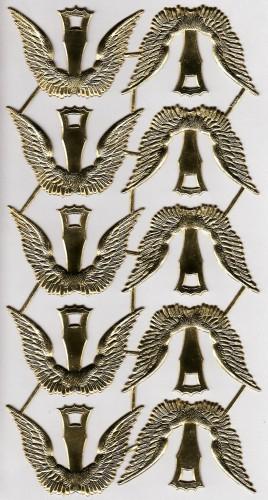 10 Paar goldene Engelsflügel geprägt