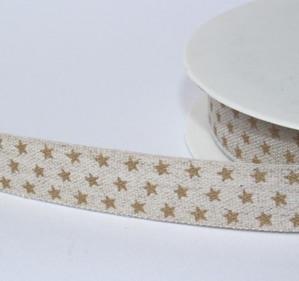 Baumwollband Webband natur Sternchen gold 15mm