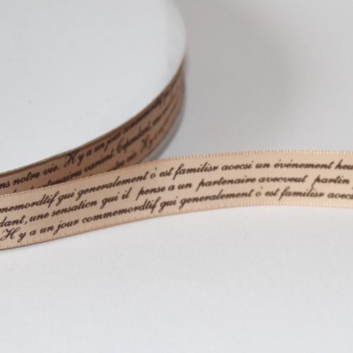 Schleifenband alte französische Schrift 16mm beige