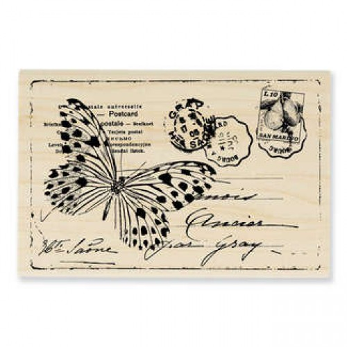 Stempel vintage Postkarte Butterfly