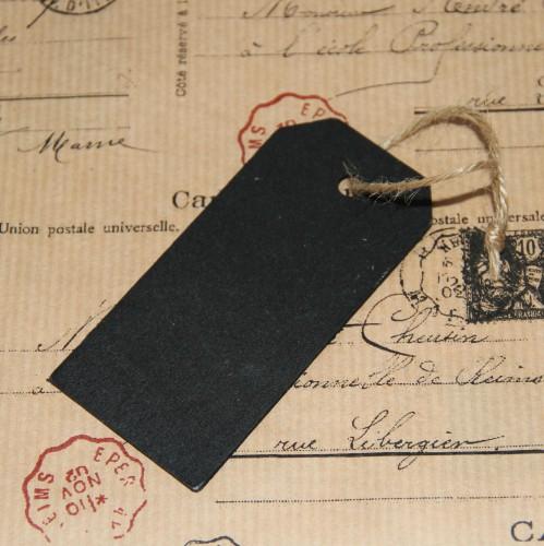 4 schwarze Paketanhänger aus Holz groß