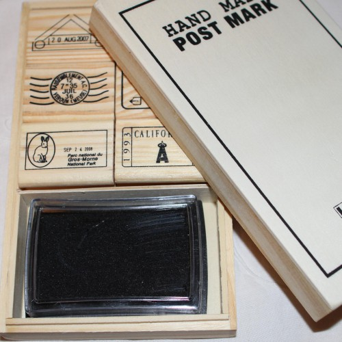 "Stempelset ""Postmark"" Poststempel in Holzbox"