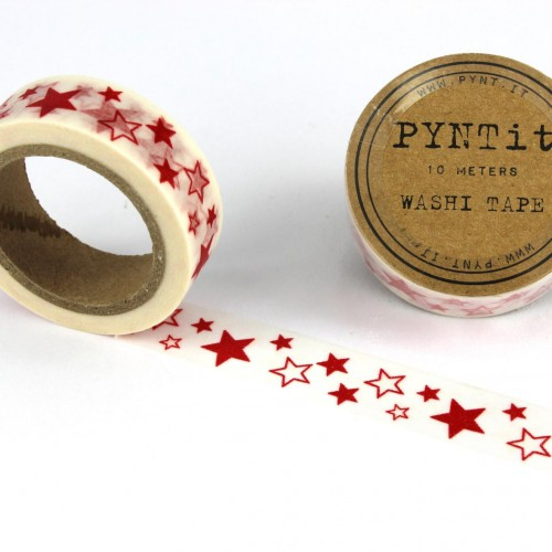 Washi Masking Tape Sterne rot weiss