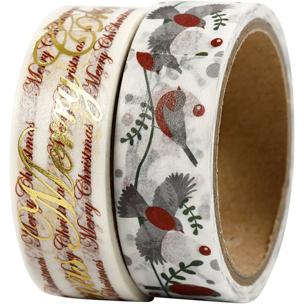 2 x Masking Tape Christmas Birds
