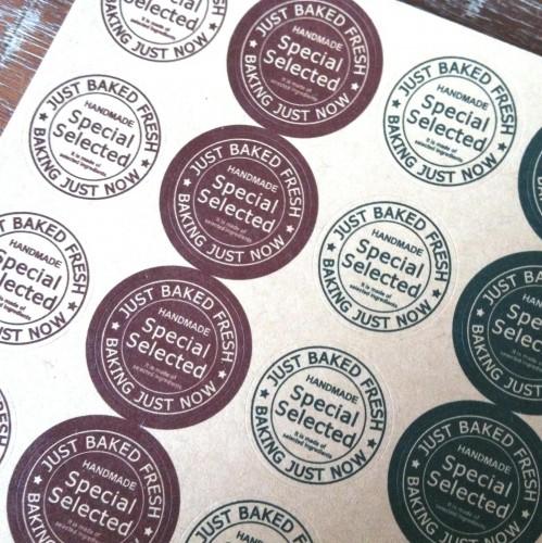16 Sticker Kraft BAKED HANDAMDE Siegel