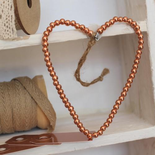 Perlenherz Kupfer Dekohänger 10cm Juteband