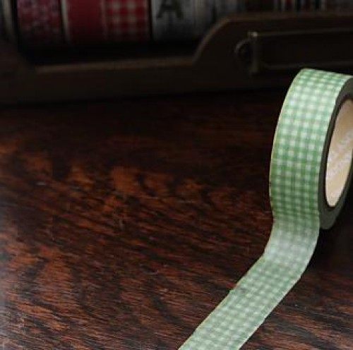 Washi Masking Tape grün weiss vichy Karo