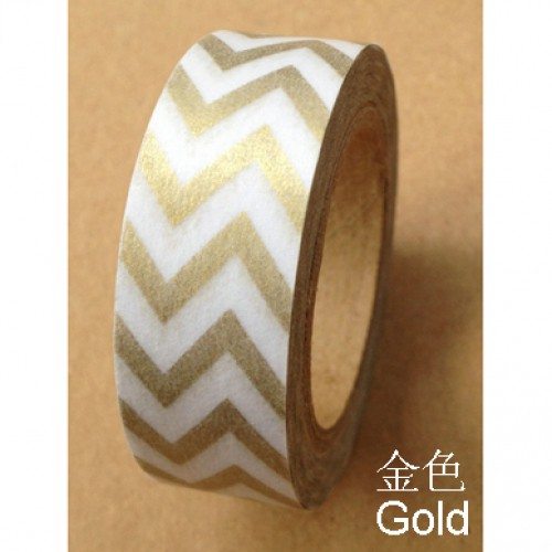 Masking Tape Streifen Zickzack chevron metallic gold