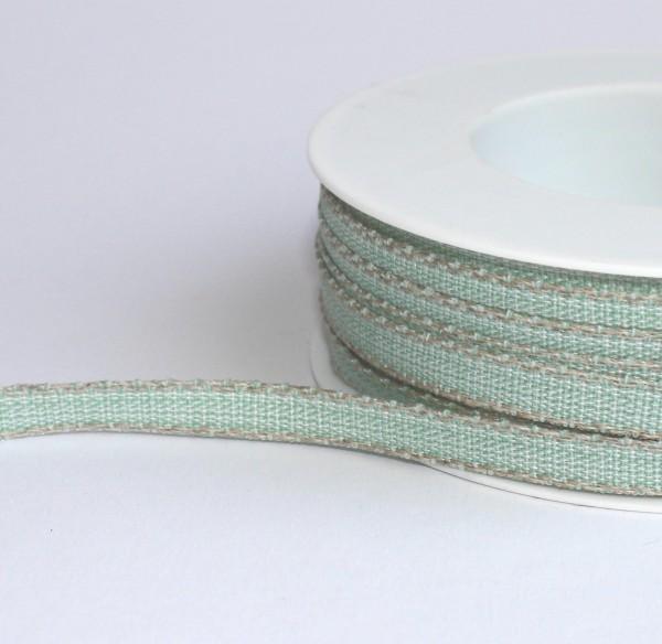 Schleifenband zart mint mit Leinenkante 7mm