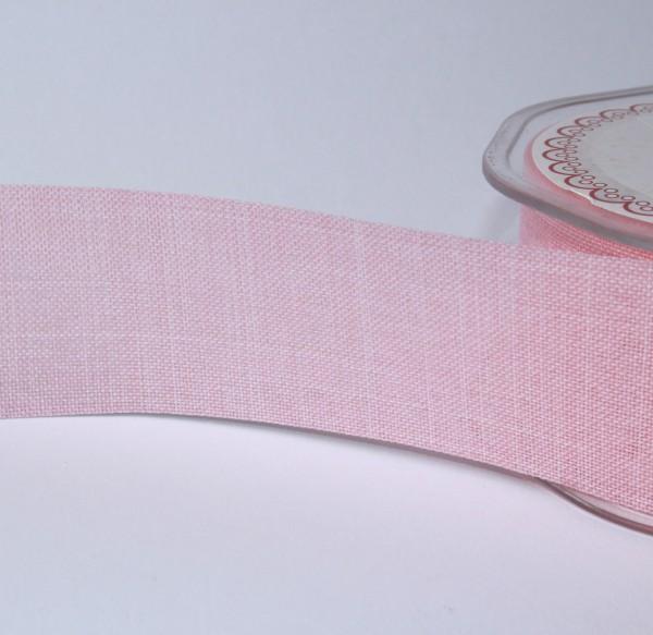 breites Dekoband Leinenoptik Jute 4cm rosa