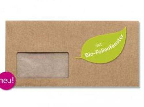 10 Umschläge DIN lang Kraftpapier braun mit Fenster