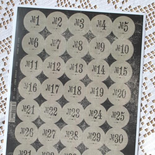 Stickerbogen vintage Nummern 1 - 40 Kraft