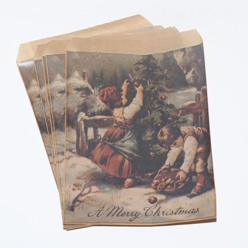 5 Stk Papiertüten vintage Christmas