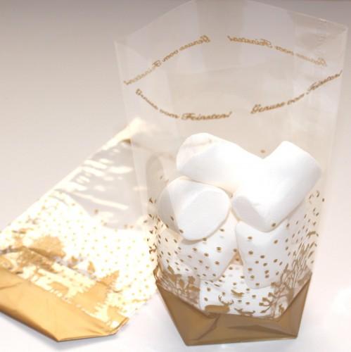 10 Folienbeutel gold Weihnachtsmotiv Gr.M