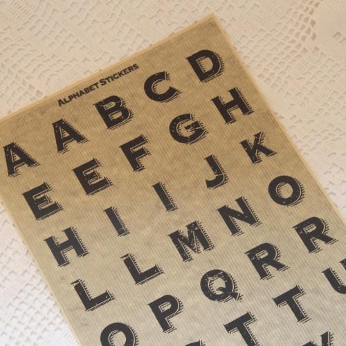 Stickerbogen vintage Buchstaben alphabet groß Kraft