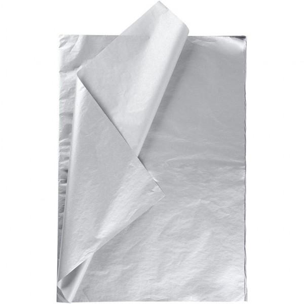25 Bögen Seidenpapier silber