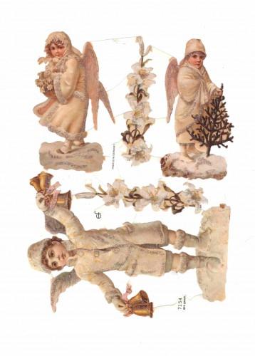 "Glanzbilder ""Engel Winter"" Glitzer Bogen Nr. 15 Oblaten"