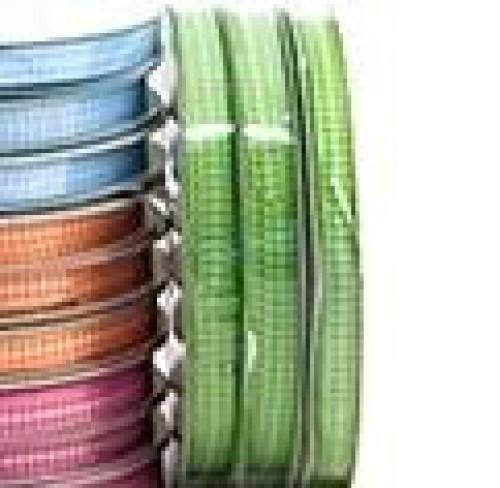 Schleifenband Vichykaro apfel-grün / weiss kariert 6mm