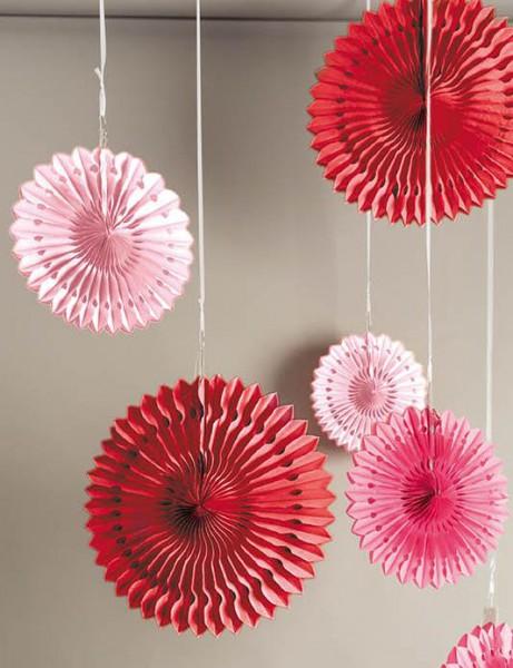 3er Set Wabenpapier Blumen rosa rot