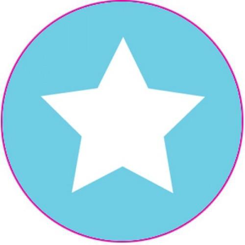 10 Sterne Sticker Etiketten hellblau weiss