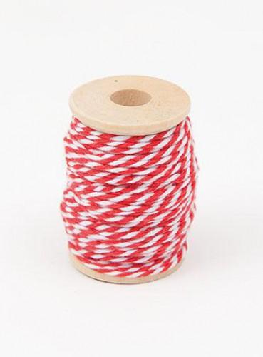 Garnrolle Baumwollgarn rot / weiß 15 Meter