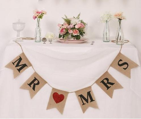 Jutegirlande MR & MRS Hochzeit Stuhldeko