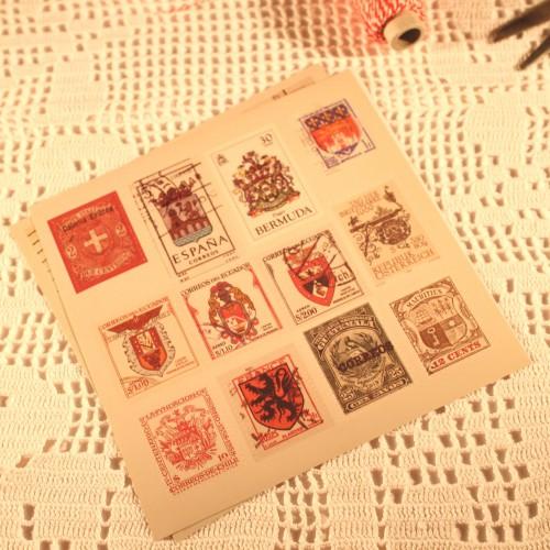vintage Stempel Briefmarken Sticker Set