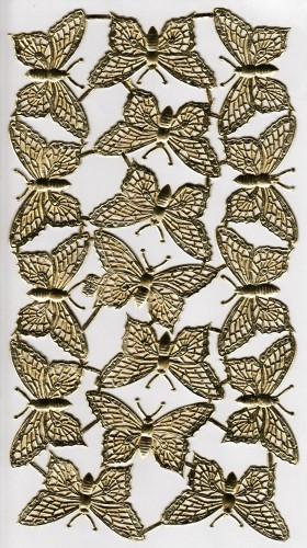 16 goldene Schmetterlinge Papier geprägt